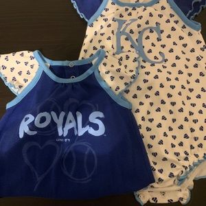 Set of 2 KC Royals girl Rompers, 3-6 months